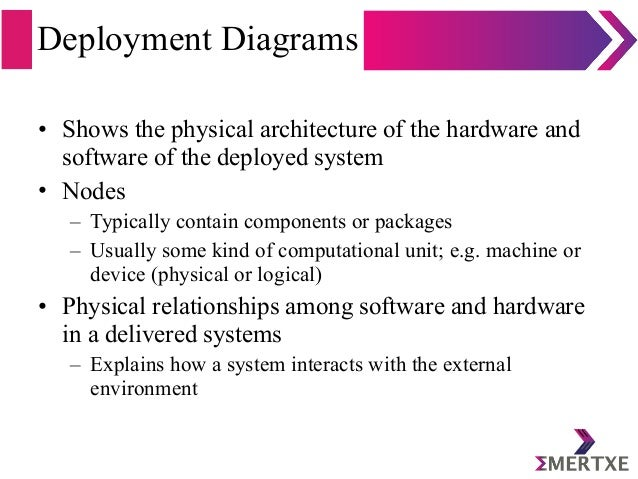 Deployment Diagrams • Shows the physical architecture of the hardware and software of the deployed system • Nodes – Typica...