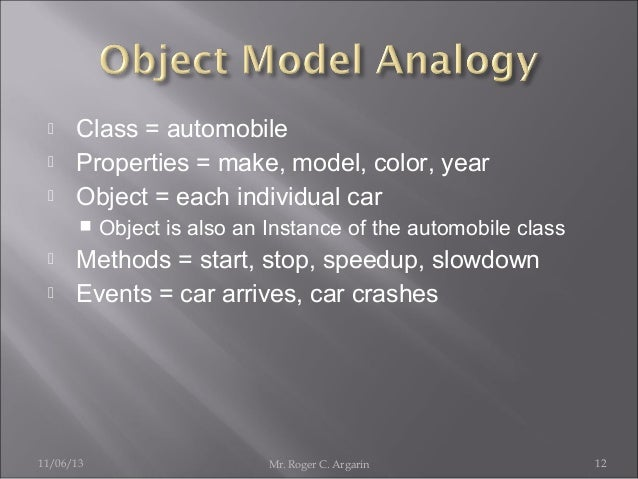     Class = automobile Properties = make, model, color, year Object = each individual car      Object is also an Ins...