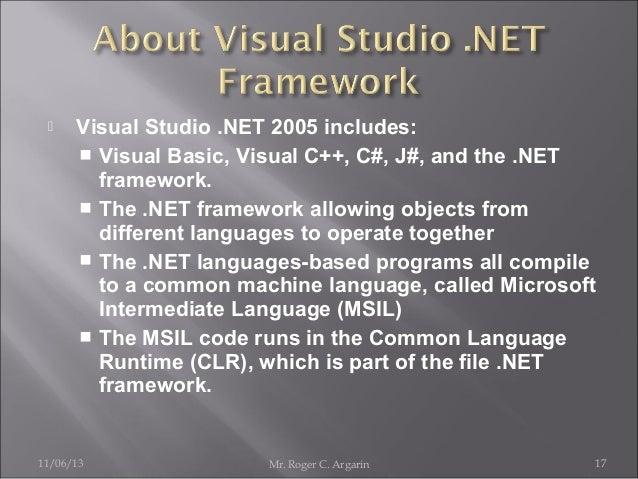   Visual Studio .NET 2005 includes:  Visual Basic, Visual C++, C#, J#, and the .NET framework.  The .NET framework allo...