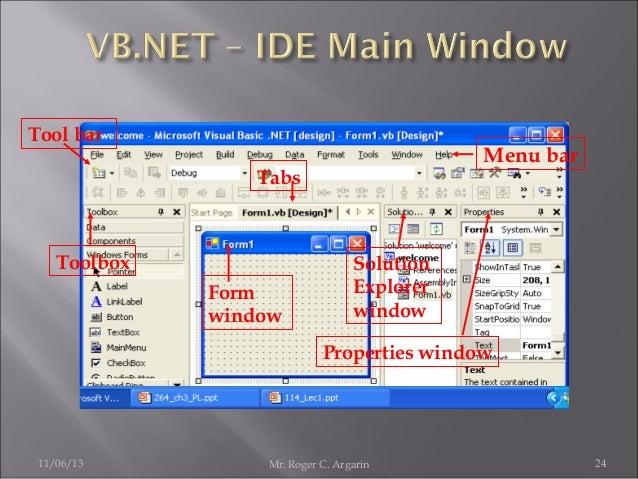 Tool bar  Menu bar  Tabs  Toolbox Form window  Solution Explorer window Properties window  11/06/13  Mr. Roger C. Argarin ...
