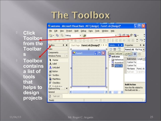     11/06/13  Click Toolbox from the Toolbar s Toolbox contains a list of tools that helps to design projects  Mr. Roger...