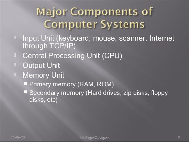       Input Unit (keyboard, mouse, scanner, Internet through TCP/IP) Central Processing Unit (CPU) Output Unit Memory ...