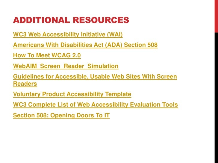 voluntary product accessibility template section 508 - introduction to web accessibility