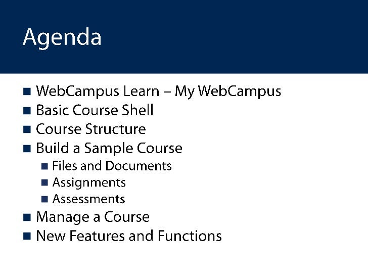Introduction to web campus learn workshop Slide 2