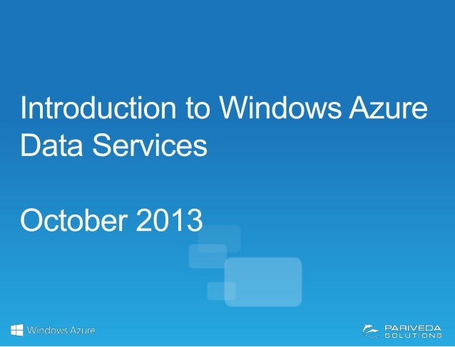 Windows Azure Data Management