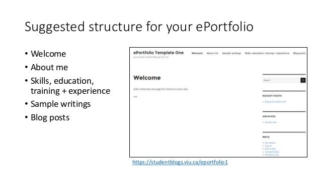 Suggested structure for your ePortfolio • Welcome • About me • Skills, education, training + experience • Sample writings ...