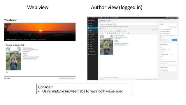 Web view Author view (logged in) Consider: • Using multiple browser tabs to have both views open