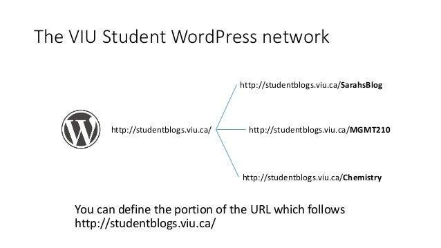 The VIU Student WordPress network http://studentblogs.viu.ca/ http://studentblogs.viu.ca/Chemistry http://studentblogs.viu...