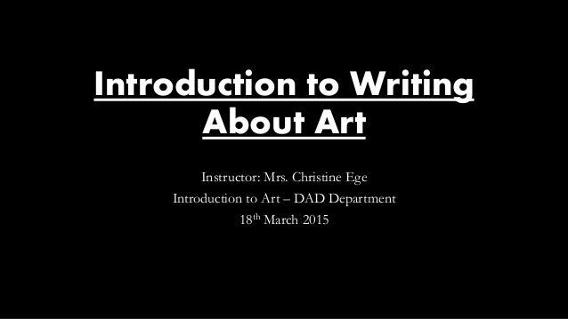 Introduction to an art essay