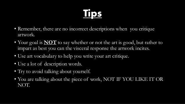 how to describe an artwork example