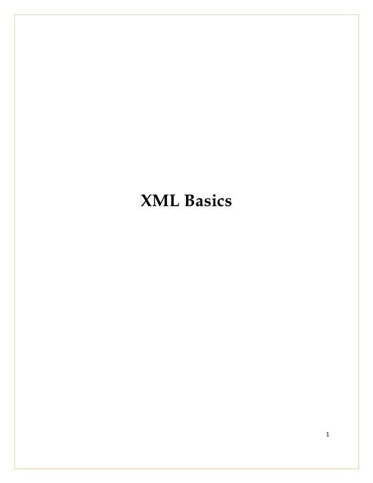 XML Basics             1