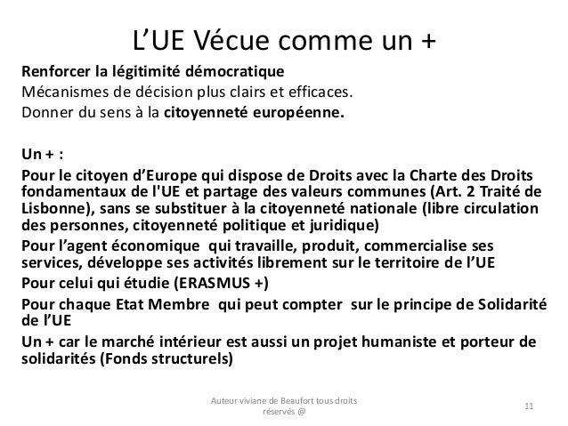 L'UE Vécue comme un + Renforcer la légitimité démocratique Mécanismes de décision plus clairs et efficaces. Donner du sens...