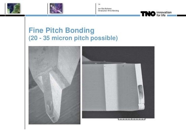 Fine Pitch Bonding (20 - 35 micron pitch possible) Jan Eite Bullema Introduction Wire Bonding 14