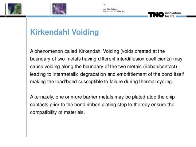 Kirkendahl Voiding A phenomenon called Kirkendahl Voiding (voids created at the boundary of two metals having different in...