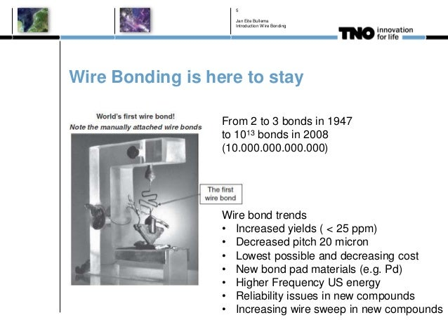 Wire Bonding is here to stay Jan Eite Bullema Introduction Wire Bonding 5 From 2 to 3 bonds in 1947 to 1013 bonds in 2008 ...