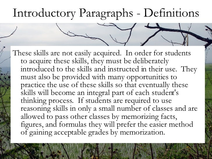 function of the introductory paragraph Improve your paper by writing structured paragraphs in academic writing, effective paragraphs serve as building blocks to construct a complex analysis or argument.