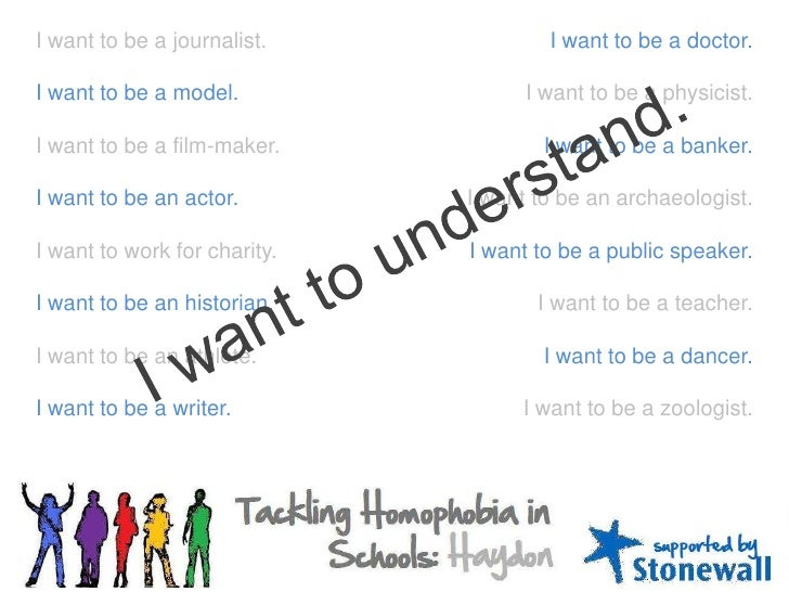 I want to be a journalist.<br />I want to be a model.<br />I want to be a film-maker.<br />I want to be an actor.<br />I w...