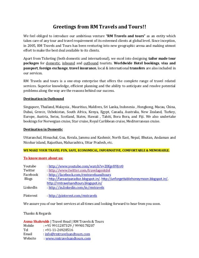Introductory Letter Rm Travels And Tours