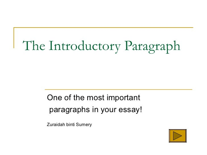 The Introductory Paragraph One of the most important paragraphs in your essay! Zuraidah binti Sumery