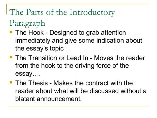 introductory paragraph   essay  the parts of the introductory paragraph
