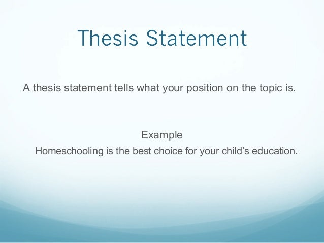 thesis statement about public schooling vs. homeschooling