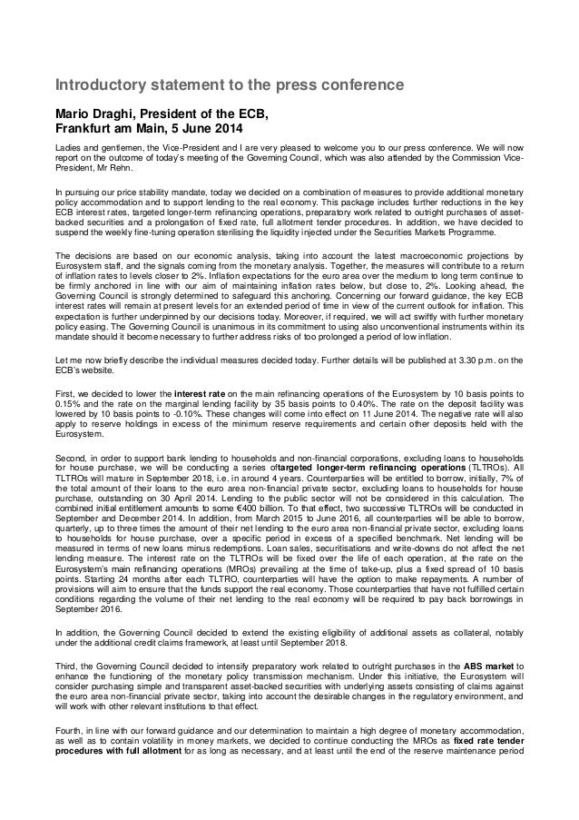 Introductory statement to the press conference Mario Draghi, President of the ECB, Frankfurt am Main, 5 June 2014 Ladies a...