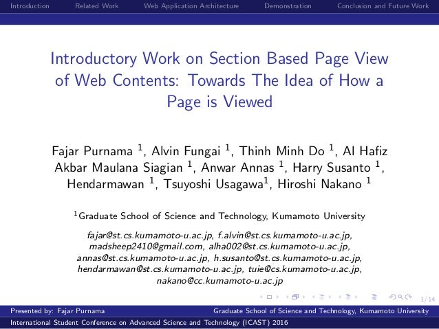1/14 Introduction Related Work Web Application Architecture Demonstration Conclusion and Future Work Introductory Work on ...