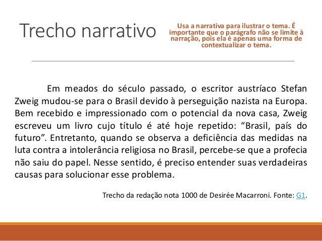 Trecho narrativo Usa a narrativa para ilustrar o tema. É importante que o parágrafo não se limite à narração, pois ela é a...