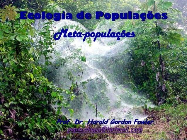 Ecologia de Populações     Meta-populações     Prof. Dr. Harold Gordon Fowler        popecologia@hotmail.com