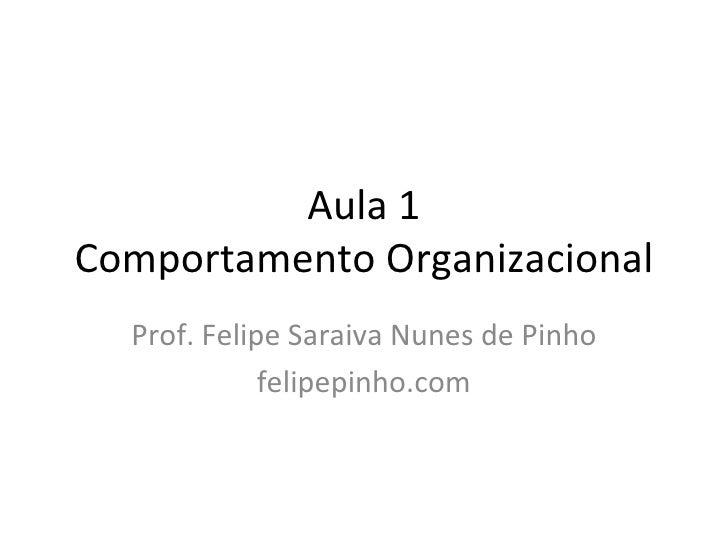 Aula 1 Comportamento Organizacional Prof. Felipe Saraiva Nunes de Pinho felipepinho.com