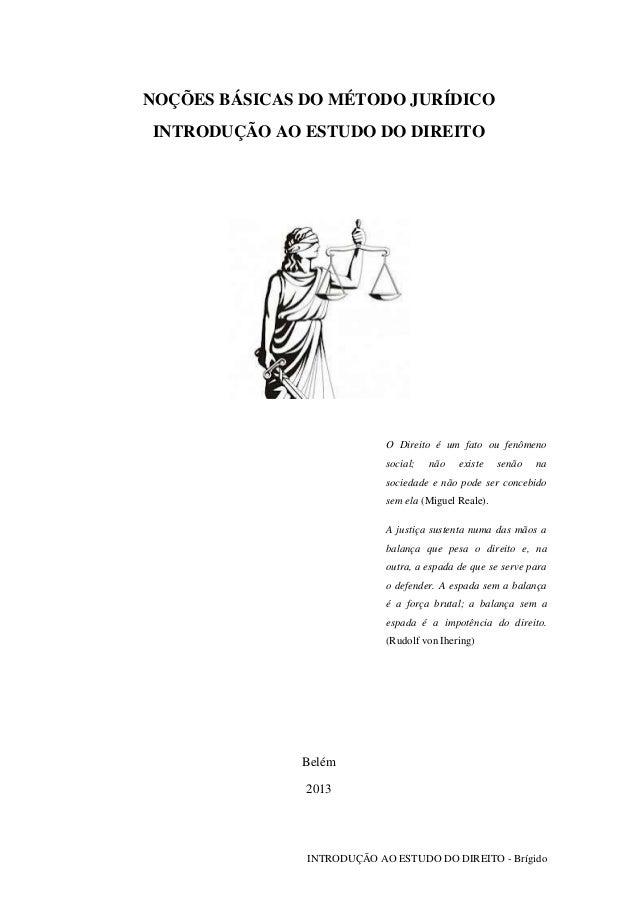 INTRODUÇÃO AO ESTUDO DO DIREITO - Brígido NOÇÕES BÁSICAS DO MÉTODO JURÍDICO INTRODUÇÃO AO ESTUDO DO DIREITO O Direito é um...