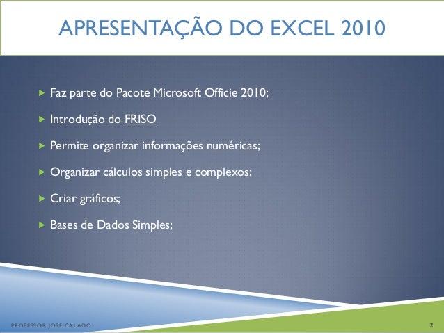 Introdução ao Excel 2010 Slide 2