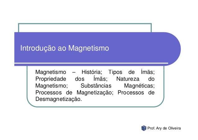 Introdução ao Magnetismo    Magnetismo – História; Tipos de Ímãs;    Propriedade  dos   Ímãs;   Natureza  do    Magnetismo...