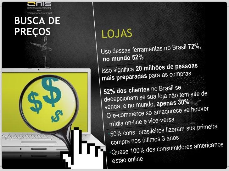 BUSCA DE PREÇOS  LOJAS  Uso dessas ferramentas no Brasil  72%,  no mundo 52% Isso significa  20 milhões de pessoas   mais ...