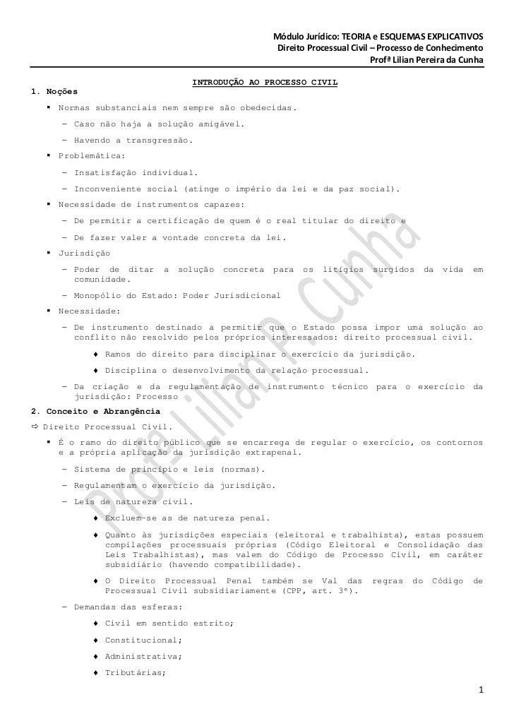 Módulo Jurídico: TEORIA e ESQUEMAS EXPLICATIVOS                                                      Direito Processual Ci...
