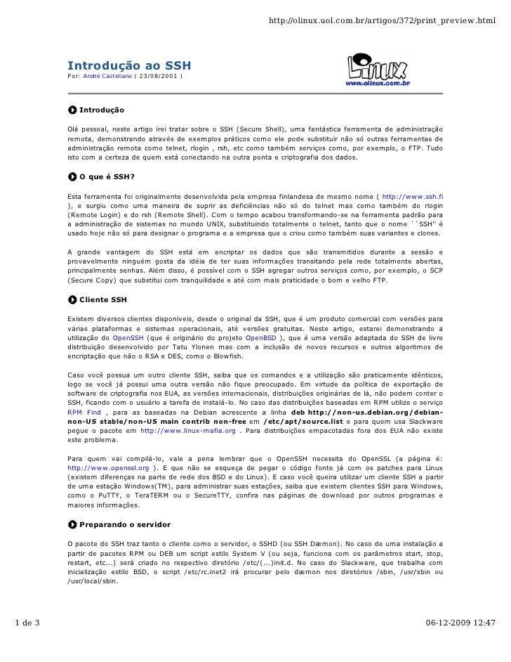 http://olinux.uol.com.br/artigos/372/print_preview.html              Introdução ao SSH          Por: André Casteliano ( 23...