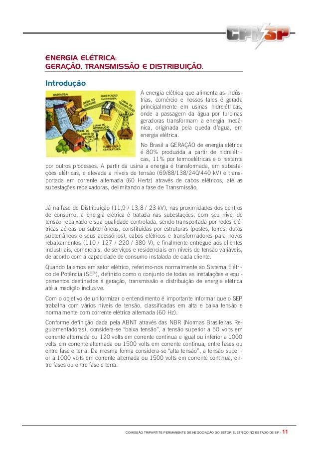 COMISSÃO TRIPARTITE PERMANENTE DE NEGOCIAÇÃO DO SETOR ELETRICO NO ESTADO DE SP - 11 ENERGIA ELÉTRICA: GERAÇÃO, TRANSMISSÃO...
