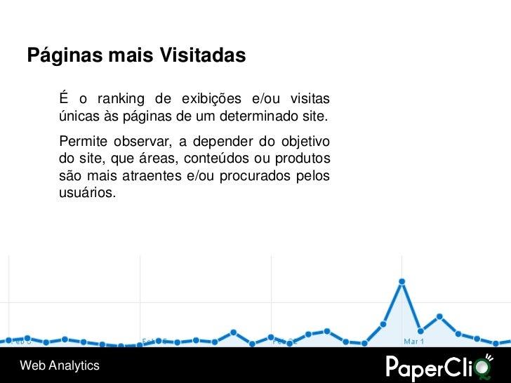 Páginas mais Visitadas        É o ranking de exibições e/ou visitas       únicas às páginas de um determinado site.       ...