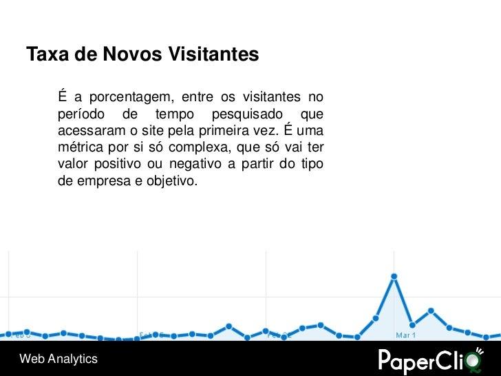 Taxa de Novos Visitantes        É a porcentagem, entre os visitantes no       período de tempo pesquisado que       acessa...