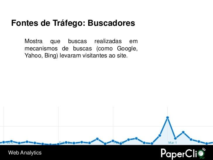 Fontes de Tráfego: Buscadores        Mostra que buscas realizadas em       mecanismos de buscas (como Google,       Yahoo,...