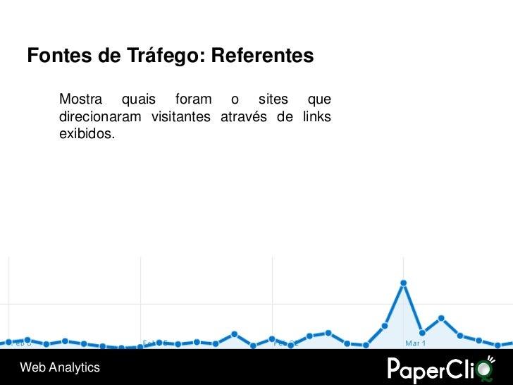 Fontes de Tráfego: Referentes        Mostra quais foram o sites que       direcionaram visitantes através de links       e...