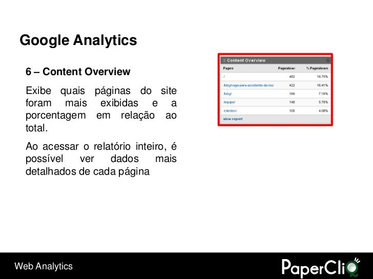 Google Analytics    6 – Content Overview   Exibe quais páginas do site   foram mais exibidas e a   porcentagem em relação ...