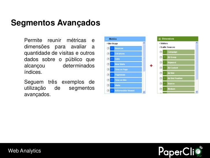 Segmentos Avançados        Permite reunir métricas e       dimensões para avaliar a       quantidade de visitas e outros  ...