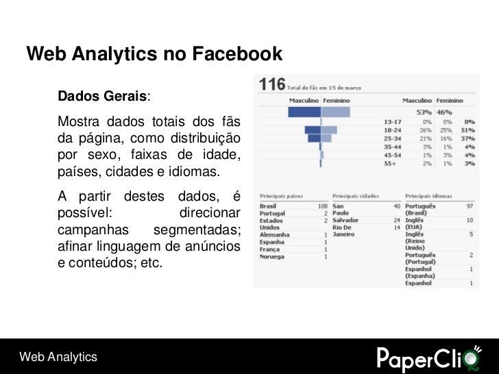 Web Analytics no Facebook        Dados Gerais:       Mostra dados totais dos fãs       da página, como distribuição       ...