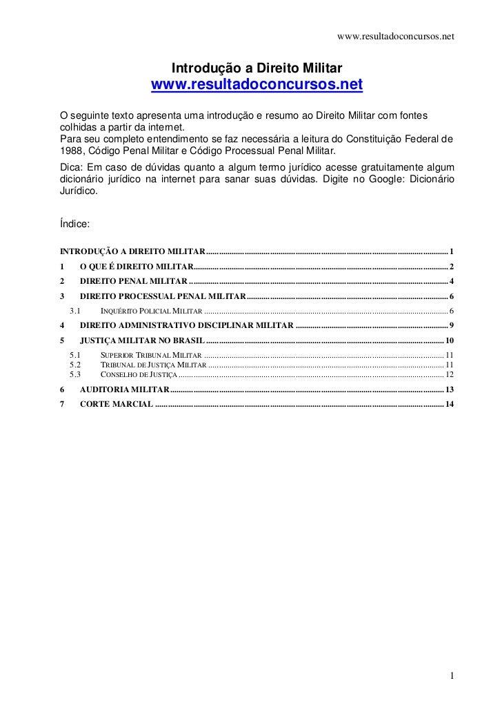 www.resultadoconcursos.net                                            Introdução a Direito Militar                        ...