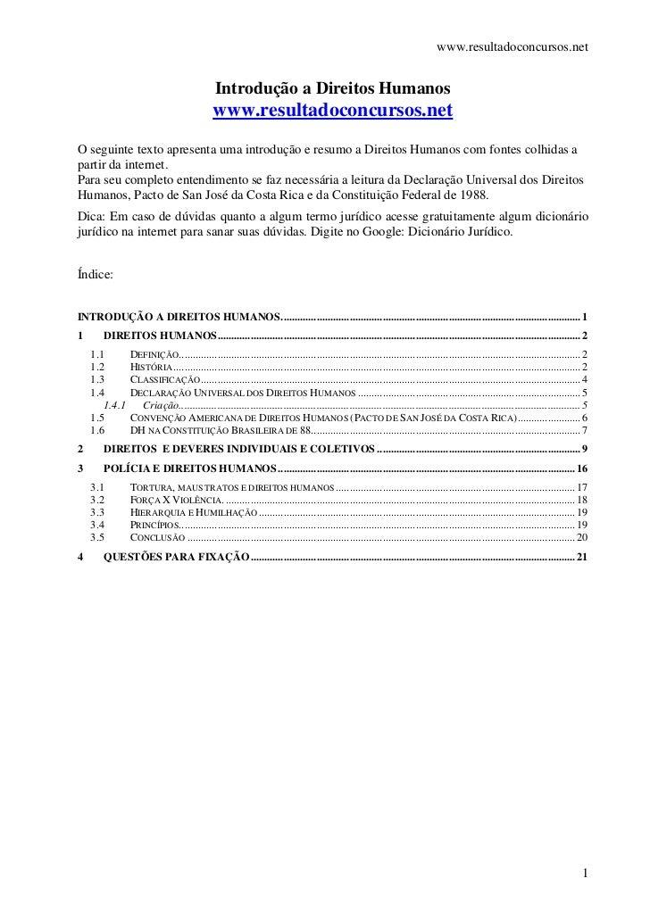 www.resultadoconcursos.net                                            Introdução a Direitos Humanos                       ...