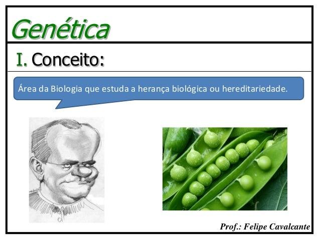 Prof.: Felipe Cavalcante Genética I. Conceito: Área da Biologia que estuda a herança biológica ou hereditariedade.