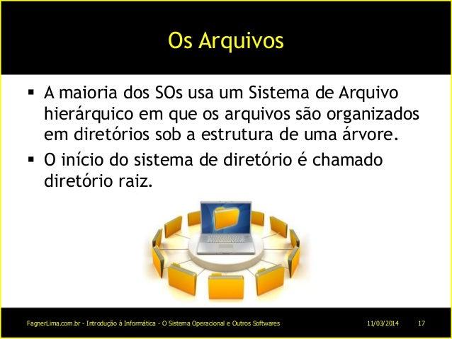 Os Arquivos  A maioria dos SOs usa um Sistema de Arquivo hierárquico em que os arquivos são organizados em diretórios sob...