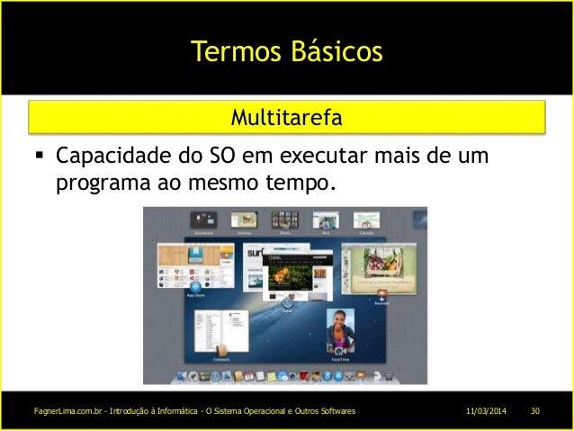 Termos Básicos  Capacidade do SO em executar mais de um programa ao mesmo tempo. Multitarefa 11/03/2014FagnerLima.com.br ...