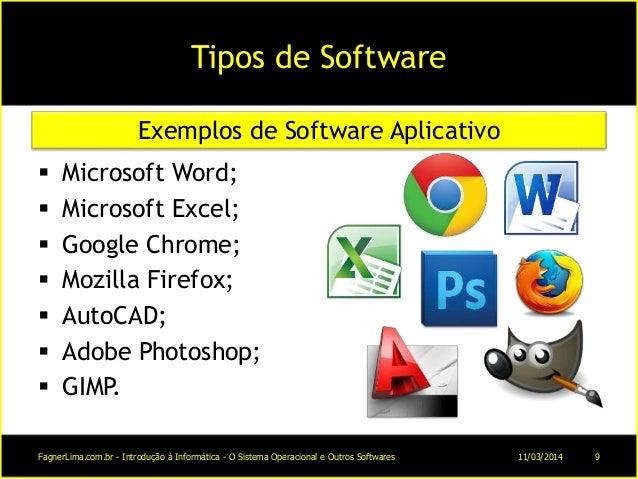Tipos de Software  Microsoft Word;  Microsoft Excel;  Google Chrome;  Mozilla Firefox;  AutoCAD;  Adobe Photoshop; ...